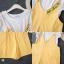 เสื้อผ้าเกาหลี พร้อมส่ง เสื้อยืด ตัวในผ้านิ่มแขนระบาย+เอี้ยม thumbnail 10