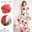ชุดเดรสเกาหลี พร้อมส่ง ชุดเดรสยาว ลายดอกกุหลาบ thumbnail 1