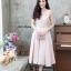 ชุดเดรสเกาหลี พร้อมส่ง Dress ผ้าไหมคอวี thumbnail 7