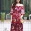 ชุดเดรสเกาหลี พร้อมส่ง Maxi dress ปริ้นลายดอกแต่งเชิงชาย thumbnail 7