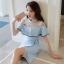 เดรสเกาหลี พร้อมส่ง เดรสสีฟ้า ช่วงไหล่เป็นผ้าโปร่งซีทรู thumbnail 2
