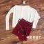 พร้อมส่ง เสื้อแขนยาวคอปาดกับกระโปรง thumbnail 14