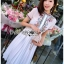 เดรสเกาหลี พร้อมส่ง เดรสผ้าชีฟอง สีขาวปักลาย thumbnail 11