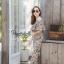 เสื้อผ้าเกาหลี พร้อมส่ง จั๊มสูท ปาดไหล่ขายาวพิมพ์ลายดอก thumbnail 2