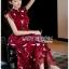 เดรสเกาหลี พร้อมส่ง เดรสยาว ผ้าชีฟองสีแดงพิมพ์ลาย thumbnail 6