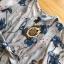 เดรสเกาหลี พร้อมส่ง เดรสผ้าชีฟอง พิมพ์ลายดอกไม้สีน้ำเงิน thumbnail 12