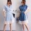 ชุดเดรสเกาหลี พร้อมส่ง Dress ยีนส์ คอปก thumbnail 1