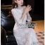 เดรสเกาหลี แขนสามส่วนผ้าลูกไม้สีขาว thumbnail 9