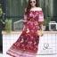 ชุดเดรสเกาหลี พร้อมส่ง Maxi dress ปริ้นลายดอกแต่งเชิงชาย thumbnail 6