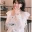 เสื้อเกาหลี พร้อมส่ง เสื้อผ้าคอตตอนสีขาวทรงคอสูง thumbnail 6