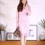 ชุดเดรสเกาหลี พร้อมส่ง Dress ซีทรูปักลูกไม้ดอกลอย thumbnail 11