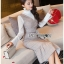 เดรสเกาหลี พร้อมส่ง เดรสลายสก็อต สีเบจทับเสื้อลูกไม้สีขาว thumbnail 11