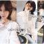 เสื้อเกาหลี พร้อมส่ง เสื้อผ้าคอตตอนสีขาวทรงคอสูง thumbnail 2