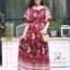 ชุดเดรสเกาหลี พร้อมส่ง Maxi dress ปริ้นลายดอกแต่งเชิงชาย thumbnail 3
