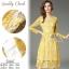 เดรสลูกไม้ พร้อมส่ง เดรสลูกไม้ สีเหลือง เนื้อผ้าทอลายดอก thumbnail 4