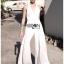 เสื้อผ้าแฟชั่นเกาหลี พร้อมส่ง จัมป์สูท สีขาวทรงผูกคอ thumbnail 12