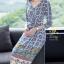 เดรสเกาหลี พร้อมส่ง ชุดเดรส ผ้าซาติลซิลพิมพ์ลาย thumbnail 4