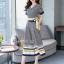 เสื้อผ้าเกาหลี พร้อมส่ง เสื้อกับกางเกง สีกรมพิมพ์ลายตาราง thumbnail 3