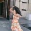 เดรสเกาหลี พร้อมส่ง มินิเดรส ลายดอกทิวลิปส้มๆ thumbnail 5