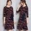 ชุดเดรสเกาหลี พร้อมส่ง Dress คอกลม แขนศอก thumbnail 9