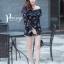เสื้อผ้าเกาหลี พร้อมส่ง จั๊มสุท แขนยาวพิมพ์ลายแต่งลูกไม้ thumbnail 2