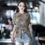 เสื้อเกาหลี พร้อมส่ง เสื้อคอกลม ผ้าพิมพ์ลายเสือ thumbnail 3