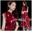 เดรสเกาหลี พร้อมส่ง เดรสยาว ผ้าชีฟองสีแดงพิมพ์ลาย thumbnail 7