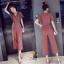 เสื้อผ้าเกาหลี พร้อมส่ง ชุด จั๊มสูท คอวีแบบป้าย thumbnail 6