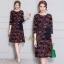ชุดเดรสเกาหลี พร้อมส่ง Dress คอกลม แขนศอก thumbnail 1