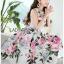 เดรสเกาหลี พร้อมส่ง เดรสยาว ลายดอกกุหลาบบาน thumbnail 8