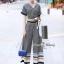 เสื้อผ้าเกาหลี พร้อมส่ง เสื้อกับกางเกง สีกรมพิมพ์ลายตาราง thumbnail 7
