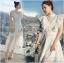 เดรสเกาหลี พร้อมส่ง เดรสผ้าลูกไม้ สีขาวทรงคอสูงตกแต่งระบาย thumbnail 1