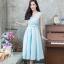 ชุดเดรสเกาหลี พร้อมส่ง Dress ผ้าไหมคอวี thumbnail 1