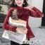 เสื้อเกาหลี พร้อมส่ง เสื้อ ทรงคอตั้ง เนื้อผ้าทอลายลูกไม้ thumbnail 5