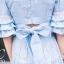 เสื้อผ้าเกาหลี พร้อมส่ง เสื้อครอป คอวี กับ กระโปรงเอวสูง thumbnail 4