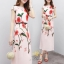 ชุดเดรสเกาหลี พร้อมส่ง เดรสยาว ผ้าซาตินซิลพิมพ์ลาย thumbnail 3
