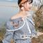 เสื้อเกาหลี พร้อมส่ง เสื้อผ้าคอตตอนพิมพ์ลายริ้ว thumbnail 14