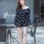 เสื้อผ้าเกาหลี พร้อมส่ง จั๊มสุท แขนยาวพิมพ์ลายแต่งลูกไม้ thumbnail 10
