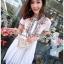 เดรสเกาหลี พร้อมส่ง เดรสผ้าชีฟอง สีขาวปักลาย thumbnail 9
