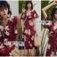 เดรสเกาหลี พร้อมส่ง ชุดเดรส สีแดงเบอร์กันดีพิมพ์ลายดอกไม้ thumbnail 3