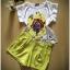 พร้อมส่ง เซตเสื้อแขนล้ำผ้าซาติน พิมพ์ลายดอกไม้ thumbnail 6