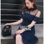 เดรสเกาหลี พร้อมส่ง เดรส แขนสั้นผ้าลูกไม้สีน้ำเงิน thumbnail 5