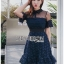 เดรสเกาหลี พร้อมส่ง เดรส แขนสั้นผ้าลูกไม้สีน้ำเงิน thumbnail 8