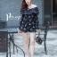 เสื้อผ้าเกาหลี พร้อมส่ง จั๊มสุท แขนยาวพิมพ์ลายแต่งลูกไม้ thumbnail 9