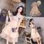 ชุดเดรสเกาหลี พร้อมส่ง เดรสผ้าลูกไม้ ต่อขายผ้าแก้ว thumbnail 2
