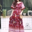 ชุดเดรสเกาหลี พร้อมส่ง Maxi dress ปริ้นลายดอกแต่งเชิงชาย thumbnail 5