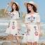 เดรสเกาหลี พร้อมส่ง ชุดเดรส ผ้าชีฟองสีขาวแบบย่น thumbnail 1