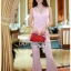 เสื้อผ้าเกาหลี พร้อมส่ง จัมป์สูท ทรงขาบานสีชมพูอ่อน thumbnail 9