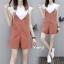 เสื้อผ้าเกาหลี พร้อมส่ง เสื้อยืด ตัวในผ้านิ่มแขนระบาย+เอี้ยม thumbnail 3
