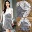 เดรสเกาหลี พร้อมส่ง เดรสผ้าชีฟองสีขาวและผ้าลายฮาวสทูธ thumbnail 13